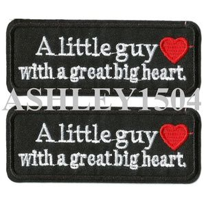 NEW 2-PACK LITTLE GUY BIG HEART IRON ON PATCHES